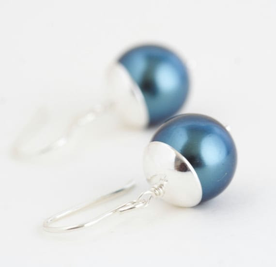Earrings, Peacock Blue and Sterling Silver Earrings - Stunning Simplicity