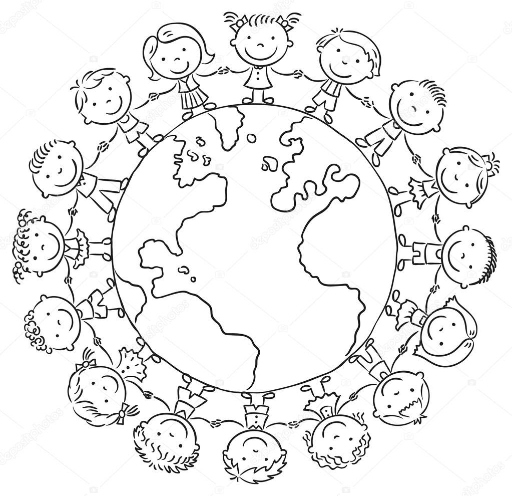 depositphotos_67329535 stock illustration children round the globe