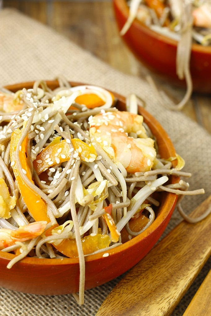 Cold Sesame Ginger Soba Noodle Salad with Shrimp | The Healthy Maven