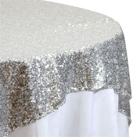 Sequin Table Overlay 72 x 72   Silver [405009] : Wholesale