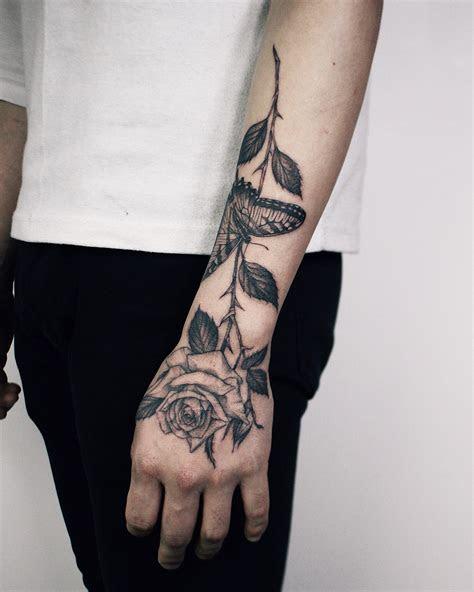 rose butterfly tattoo hand atyejitattoo rose