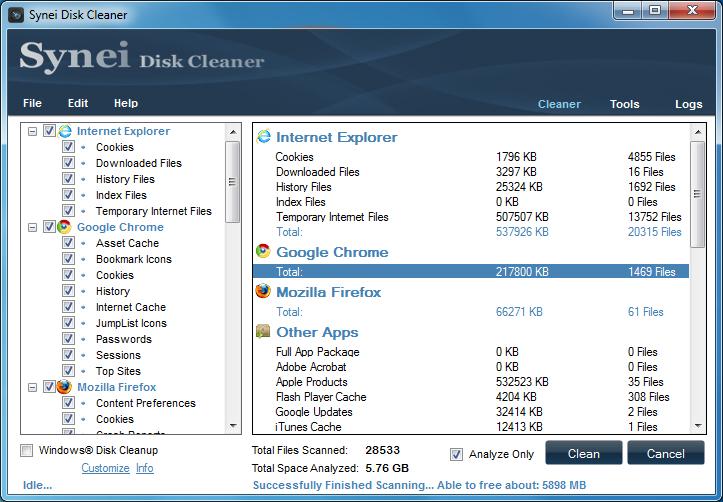 برنامج مجانى لتنظيف جهازك وتوفير مساحة خالية وتحسين الاداء Synei Disk Cleaner 1.15