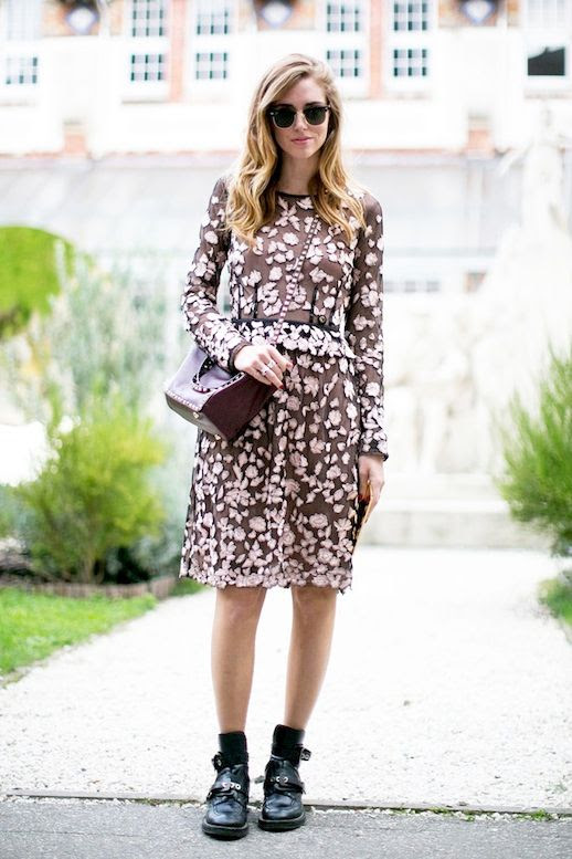 Le Fashion Blog Blogger Style Pfw Ray Ban Sunglasses Floral Printed Dress Studded Valentino Bag Black Chunky Balenciaga Boots Via Popsugar