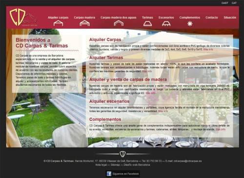 Nuevo diseño web de CD Carpas Nuevo diseño web de la página web de CD Carpas, empresa especializada en el alquiler de carpas.  La nueva página web incorpora nuevas funcionalidades y hace más clara  la navegación y la visualización de las carpas y tarimas. +información alquiler de carpas