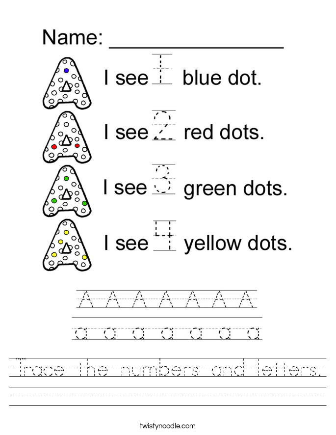 Trace the numbers and letters Worksheet - Twisty Noodle