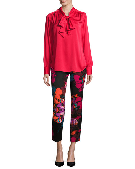 Deming Long-Sleeve Stretch Silk Top, Red