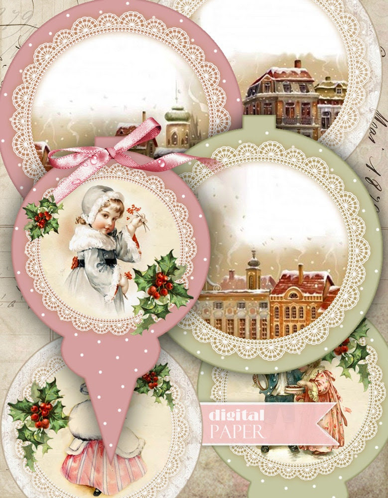 Christmas Baubles - digital collage sheet - set of 6 elements