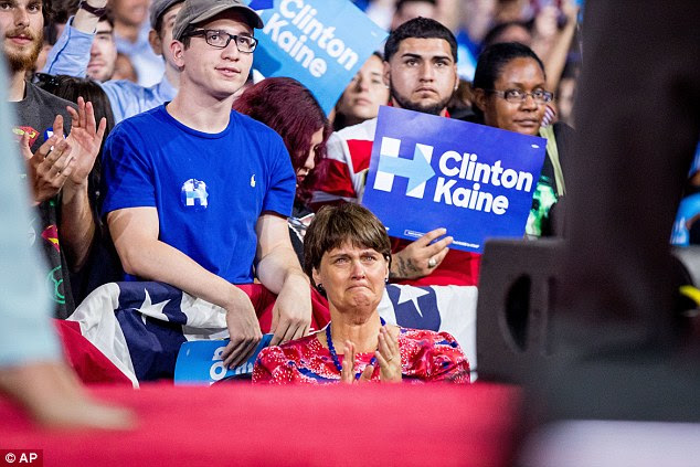 Kaine's wife Anne Holton becomes emotional as Kaine tells the audience that their son will be deployed to Europe as a Marine as he speaks at a rally with Democratic presidential candidate Hillary Clinton at Florida International University Panther Arena in Miami today