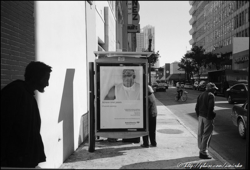 Black and White photograph of a street scene in Downtown Miami, Florida, 2008. Street Photography by Emir Shabashvili, see http://street-foto.com, http://miamistreetphoto.com, http://miamistreetphotography.com or http://miamistreetphotographer.com