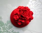 Red Felt Hat - Red Hat, Peony Flower, Paeony, Fascinator, Red Fascinator, Cocktail Hat, Womens hat, Formal hat, Wedding hat