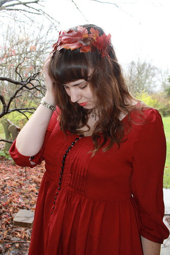 Thanksgiving outfit - leather boots, mustard tights, red babydoll dress, DIY fall-leaf hair wreath