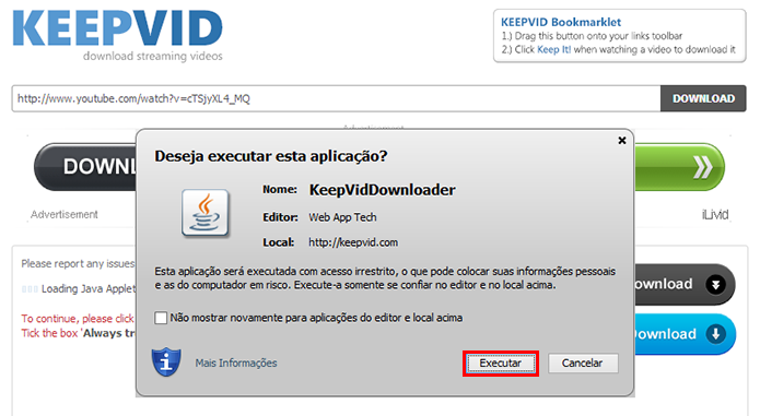 Execute o app Java (Foto: Reprodução/Paulo Alves)
