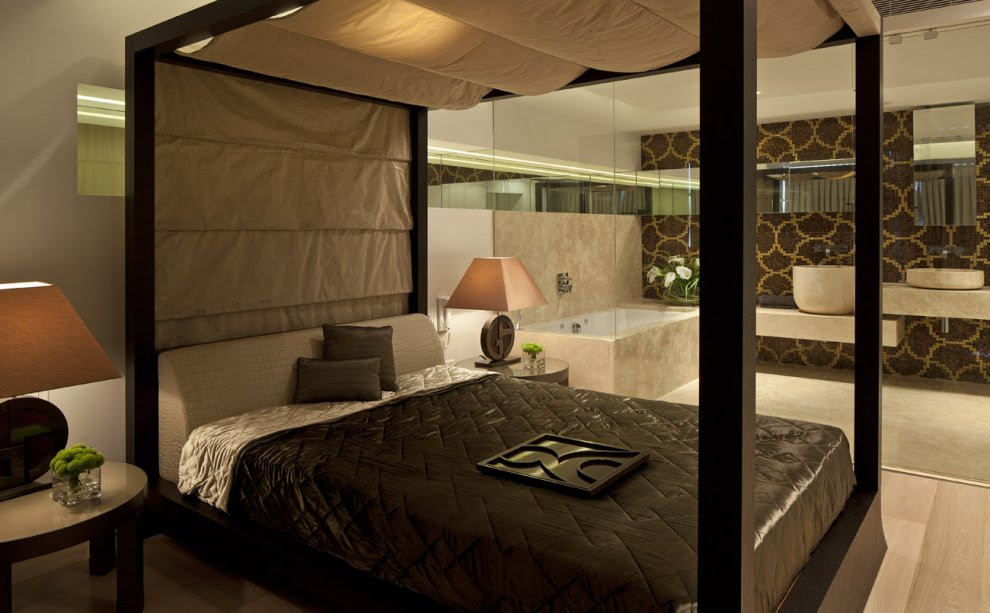 Brown Cream Bedroom Ensuite Bathroom Interior Design Ideas