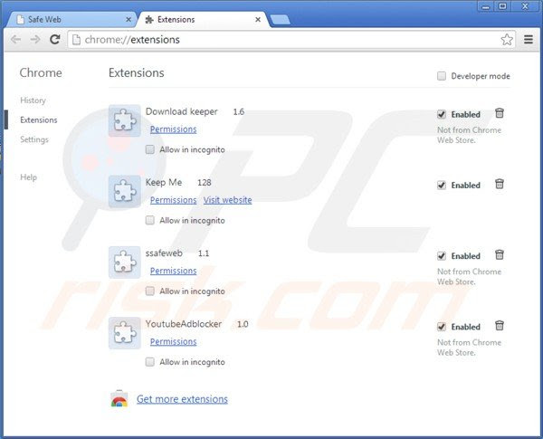 Eliminando la aplicación safeweb de Google Chrome paso 2