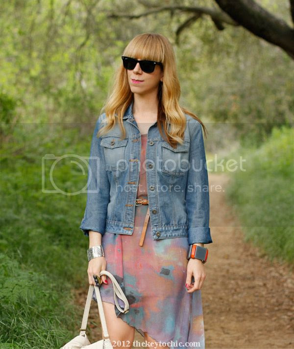 denim jacket, galaxy print dress, Los Angeles fashion blog, southern California street style
