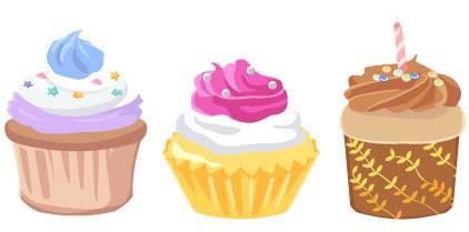 無料素材 3種類のカップケーキのイラストカワフルなホイップクリーム