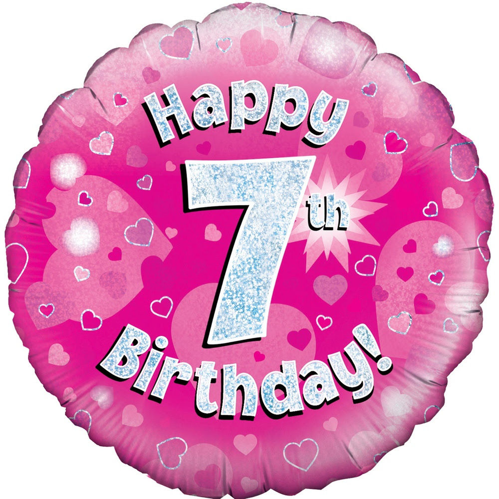 Happy 7th Birthday Pink Holographic Balloon Trade Wholesale