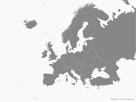 Vector Map of Europe with Countries - Single Color | Free Vector Maps