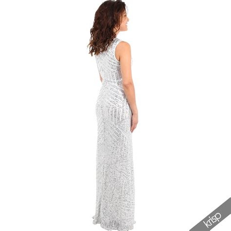womens sequin long maxi dress bodycon cocktail evening