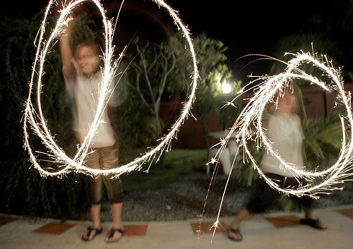 Our kids with sparklers