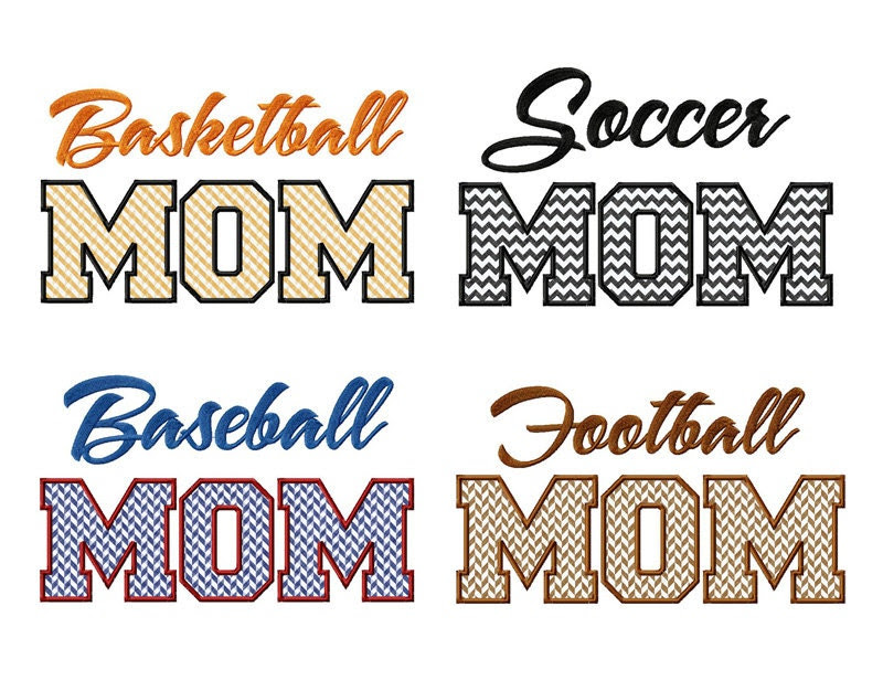 4 Pack Sports Mom Applique Machine Embroidery Designs - Basketball, Baseball, Football, Soccer - RivermillEmbroidery