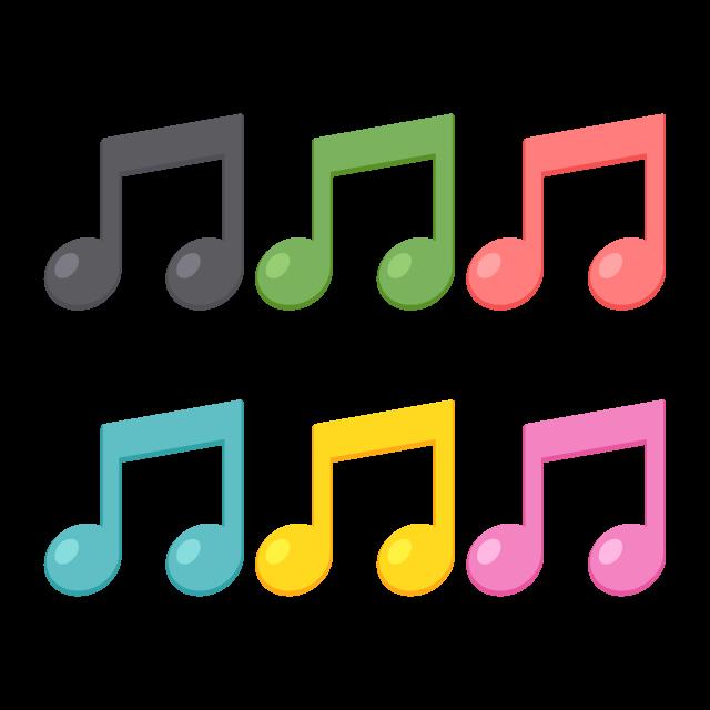 2つつながった8分音符6色の無料ベクターイラスト素材 Picaboo