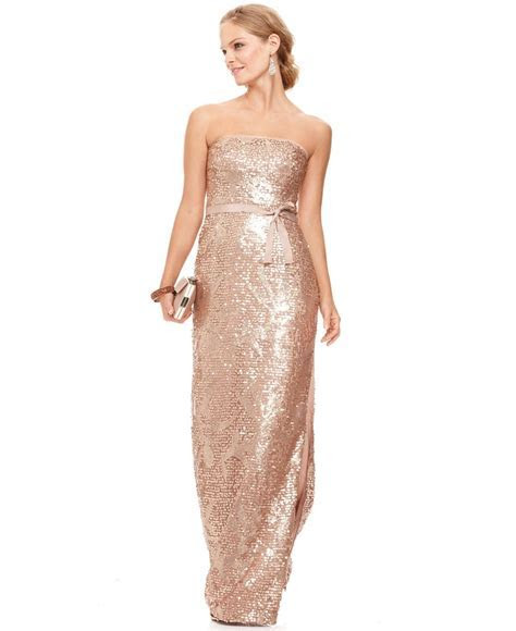 BCBGMAXAZRIA Dress, Strapless Sequined Belted Gown