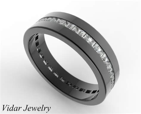 Black Gold Baguette Cut Diamond Wedding Band For Men