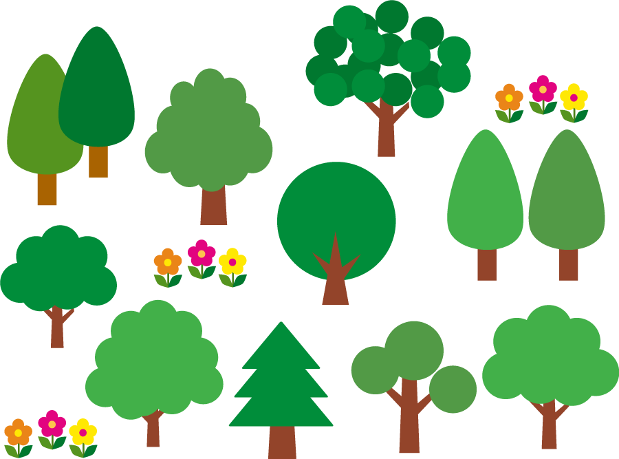 フリーイラスト 10種類の木のセットでアハ体験 Gahag 著作権フリー