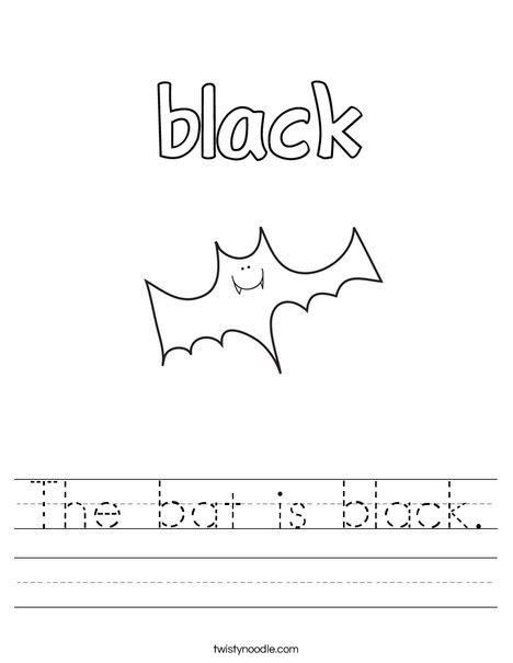 The bat is black Worksheet - Twisty Noodle
