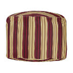 Wine Red and Gold Stripes Round Pouf