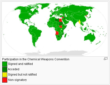 Almost every country in the world has agreed to ban chemical weapons.