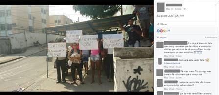 Postagem de foto de protesto no facebook do jogador