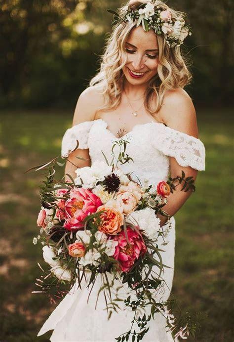 Romantic flower crown, off the shoulder boho wedding dress