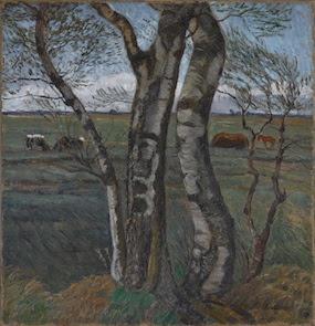 Otto Modersohn: Birkenstämme 1912