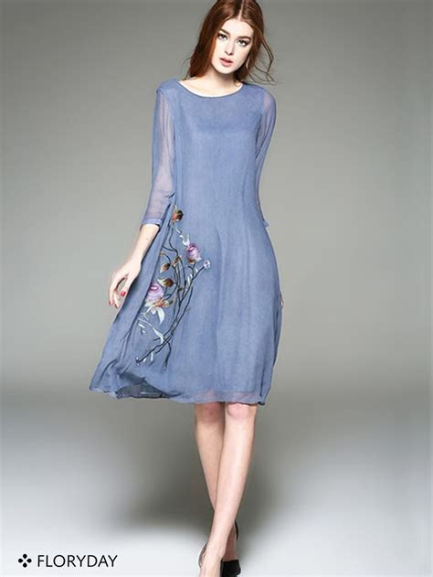 Cotton Floral 3/4 Sleeves Knee Length Casual Dress A