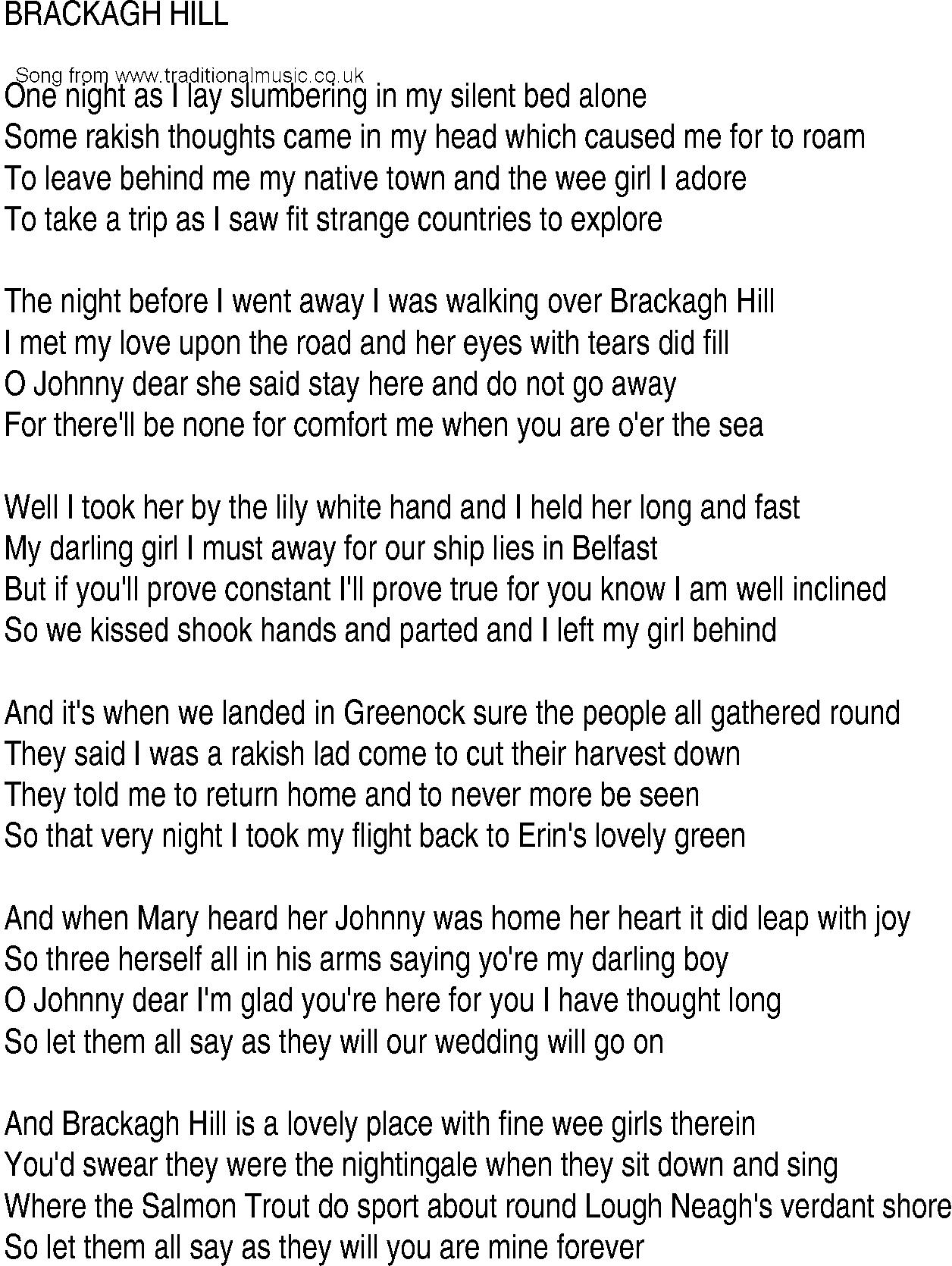 Irish Music Song And Ballad Lyrics For Brackagh Hill