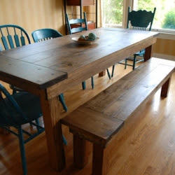 diy farmhouse table and bench   craftgawker