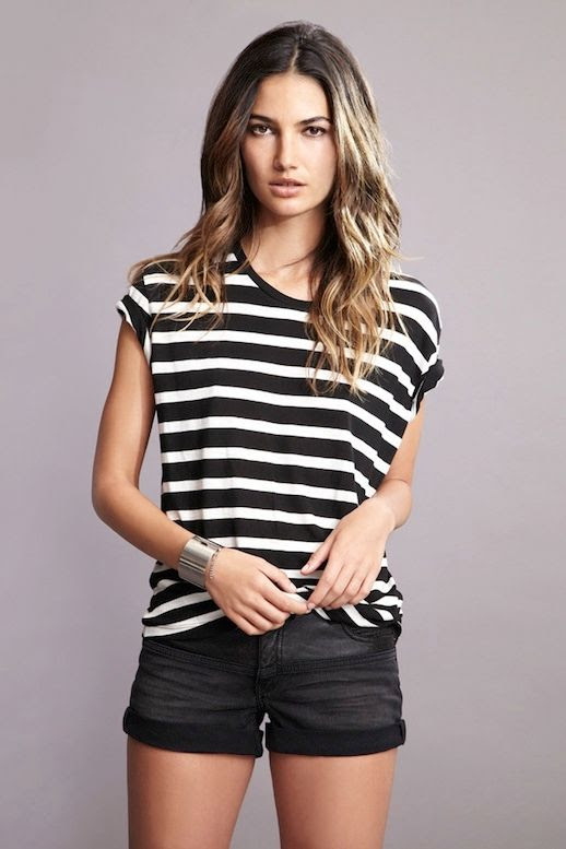 Le Fashion Blog Model Lily Aldridge for Velvet by Graham Spencer Collection Lookbook Black And White Dani Striped Tee Black Denim Shorts Wavy Highlighted Hair Natural Beauty 5 photo Le-Fashion-Blog-Lily-Aldridge-for-Velvet-by-Graham-Spencer-Collection-Lookbook-Dani-Striped-Tee-5.jpg