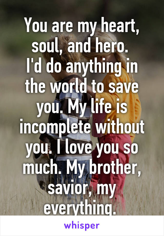 You Are My Heart Soul And Hero Id Do Anything In The World To Save