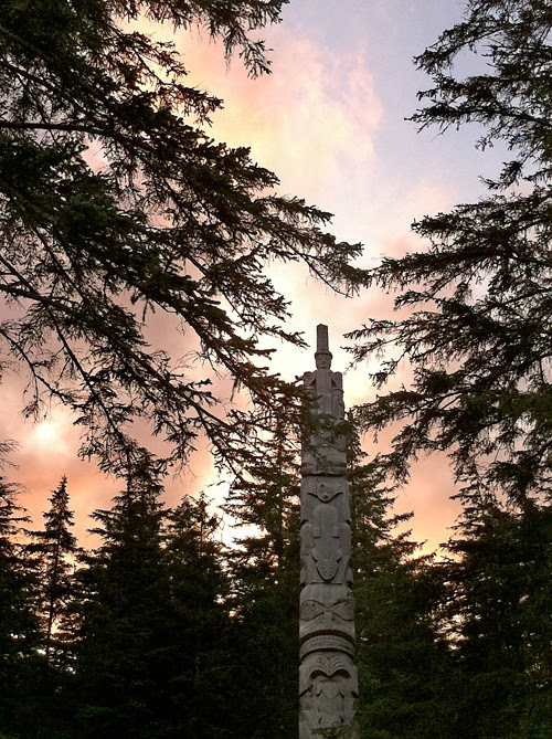 totem pole at sunset, Kasaan, Alaska