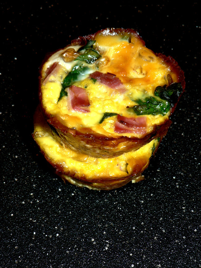 Ham and egg cups, a delicious take on ham and cheese without any bread. Healthy, easy to make and delicious, spinach, cheese, ham and eggs cups.