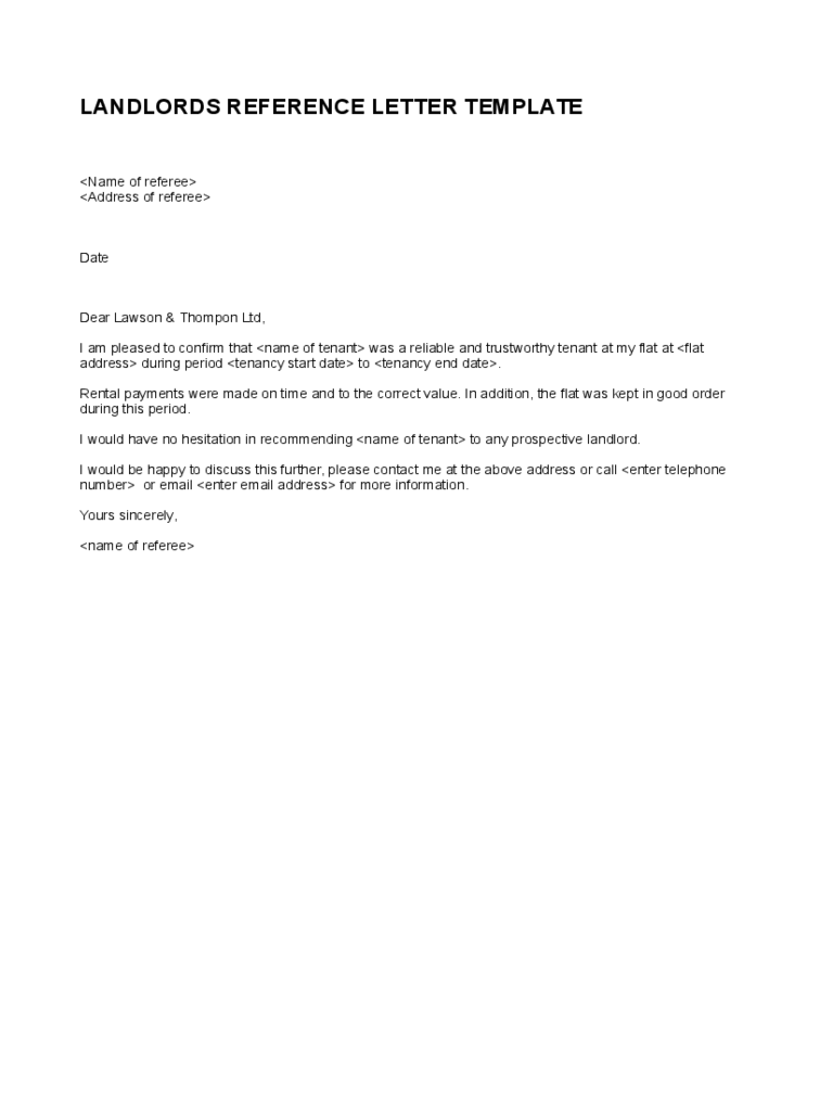 simple landlord reference letter template d1