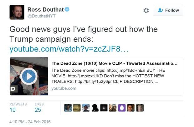 Il tweet con l'idea su come fermare Trump