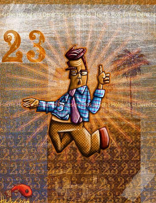 Empleado bancario 23, ilustración digital por hache Holguín