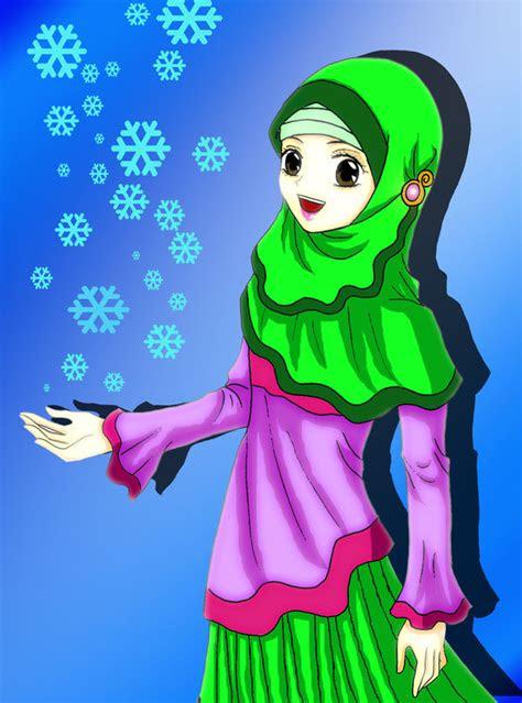 fatimah azahro muslimah kartun anime jilbab