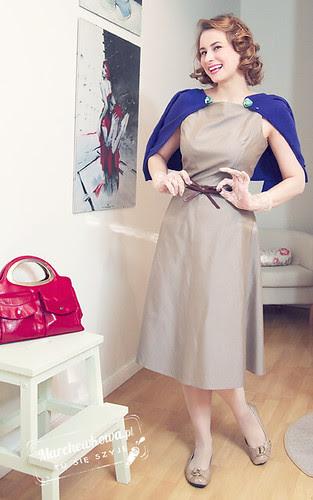 marchewkowa, blog, szafiarka, szycie, krawiectwo, Burda 5/2011, model 108, lata 40, buty Me Too, koronkowe rękawiczki Ko-Moda, sweter i pasek Top Secret, retro