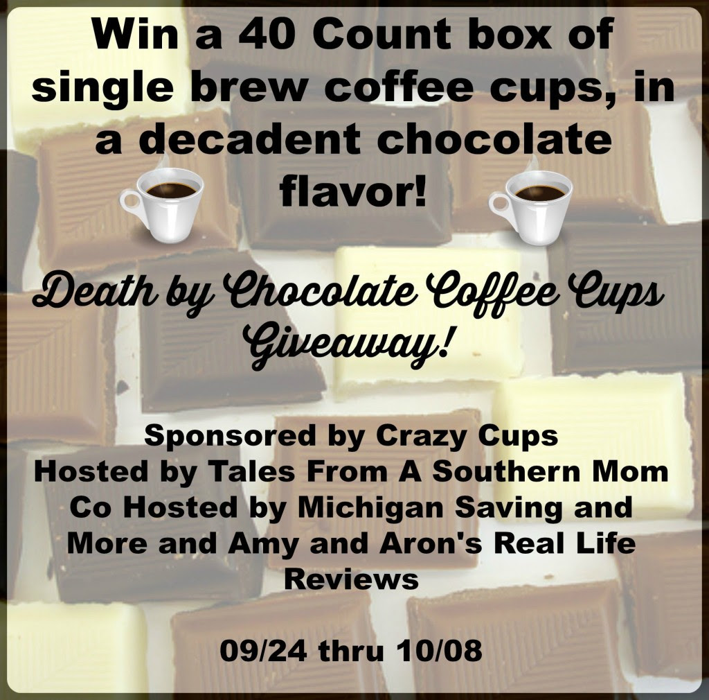 Enter the Death by Chocolate Giveaway. Ends 10/8