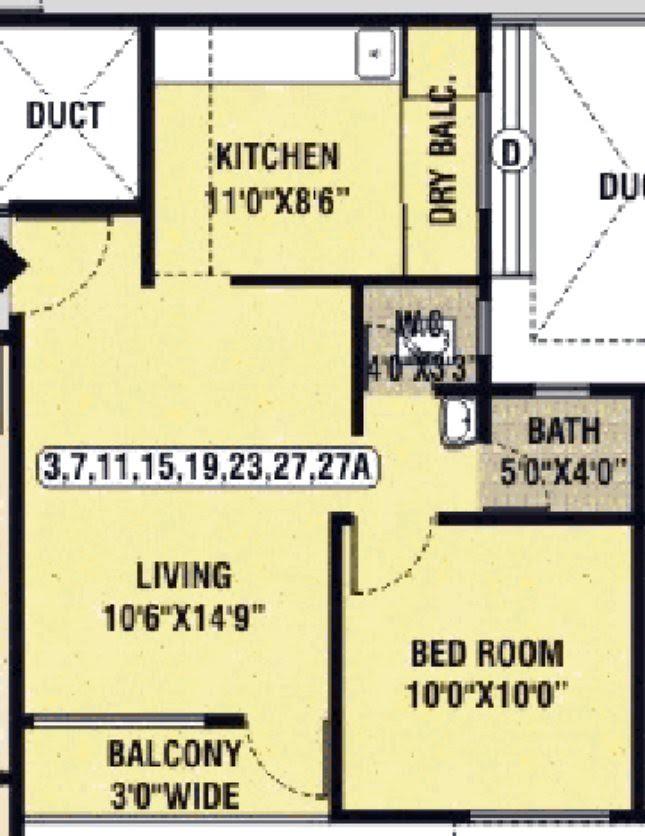 Dwarka Chakan 1 BHK Flat Standard B 12 - 453.6 Carpet