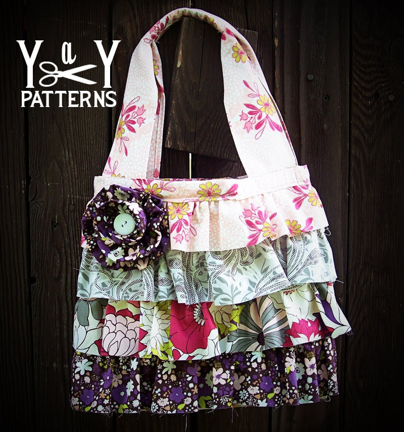 PDF Sewing Pattern Ruffles and Rosettes Handbag by Yards and Yards
